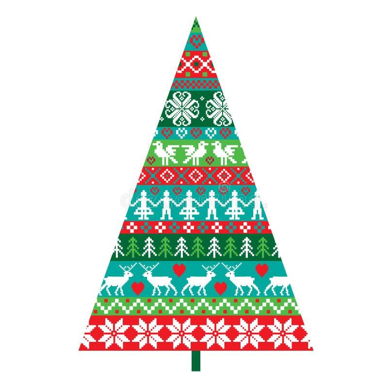 Nordisk julgran vektor illustrationer