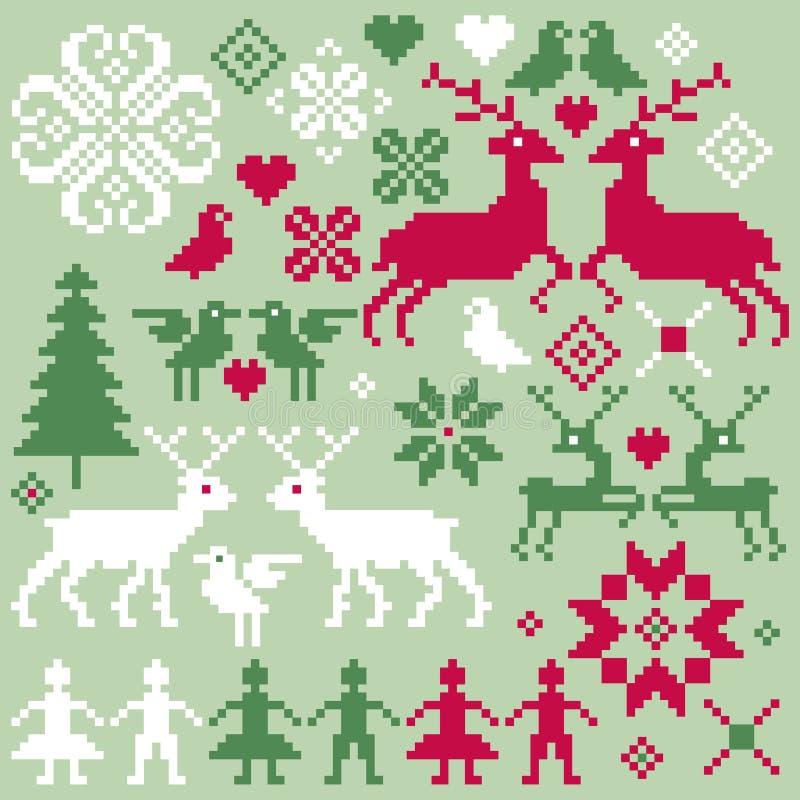 Nordisk julmotivclipart stock illustrationer