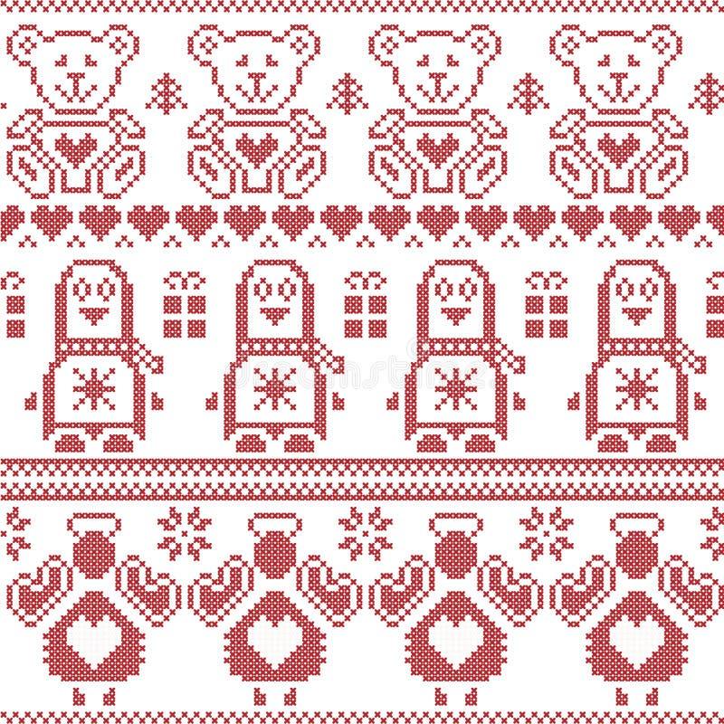 Nordisk sömlös modell för skandinavisk tappningjul med pingvinet, ängel, nallebjörn, xmas-gåvor, hjärtor, dekorativa prydnader, stock illustrationer