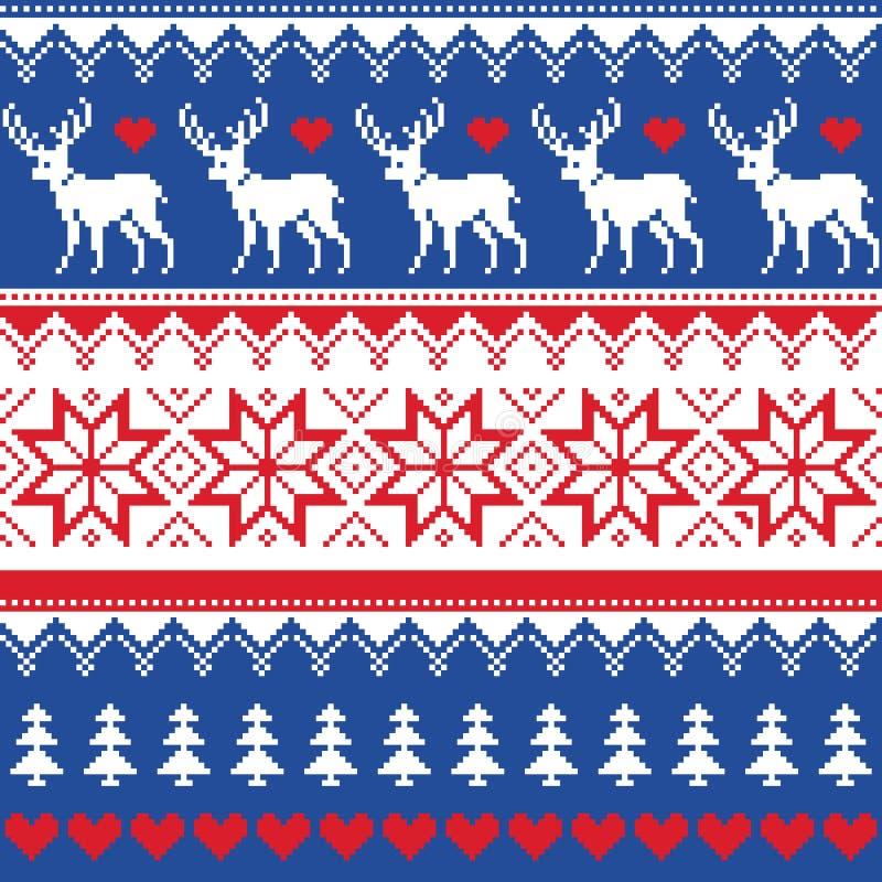Nordisk sömlös modell med hjort- och julträd royaltyfri illustrationer