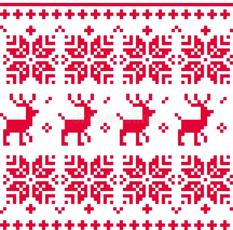 Nordisk sömlös stucken julmodellvektor stock illustrationer
