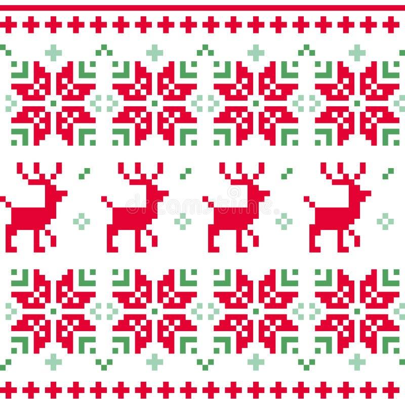 Nordisk sömlös stucken julmodellvektor royaltyfri illustrationer