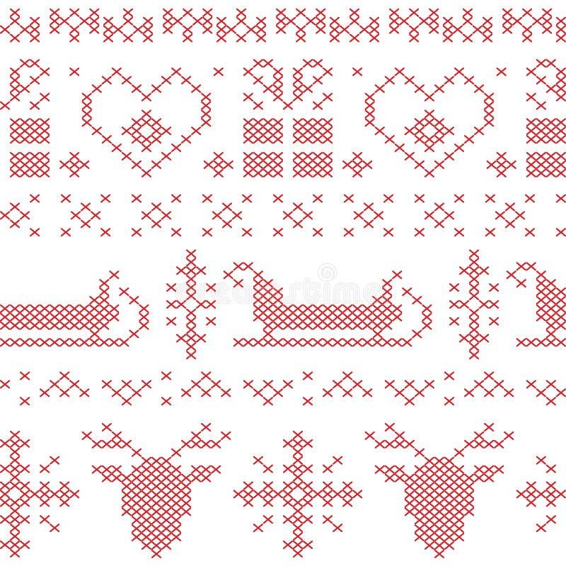 Nordisk sömlös sydd julmodell med den santas släden, renen, snöflingor och stjärnor royaltyfri illustrationer