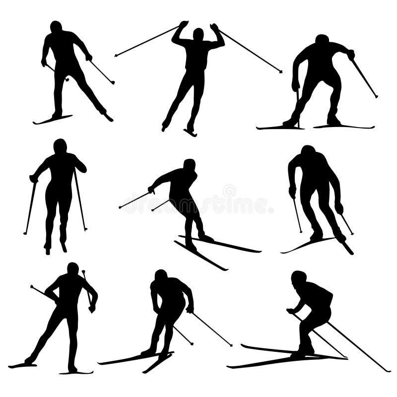 nordisk skidåkningvektor royaltyfri illustrationer