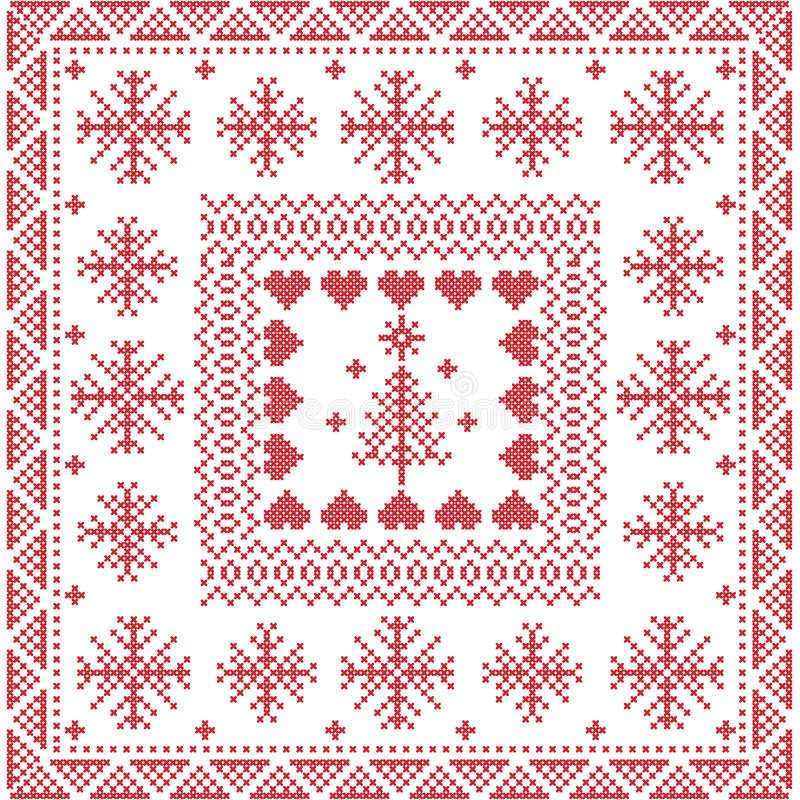 Nordisk vinterhäftklammer för skandinavisk stil som sticker den sömlösa modellen i fyrkanten, tegelplattaform inklusive snöflingo royaltyfri illustrationer