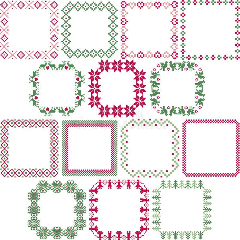 Nordiska fyrkantramar för jul royaltyfri illustrationer