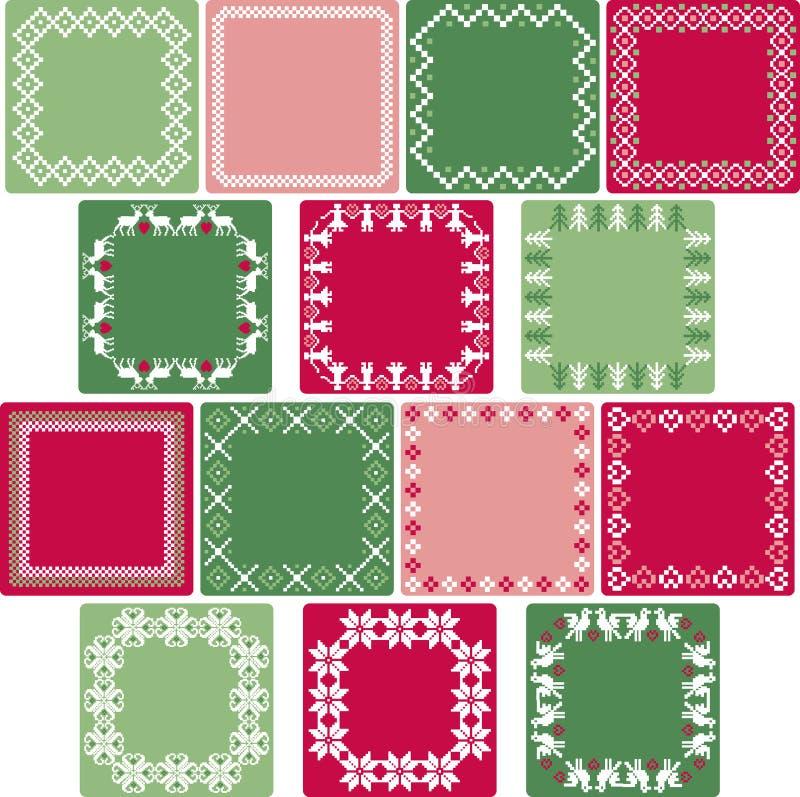 Nordiska julfyrkantramar stock illustrationer