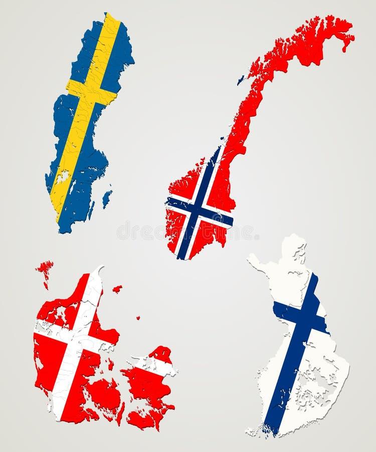 nordiska länder stock illustrationer