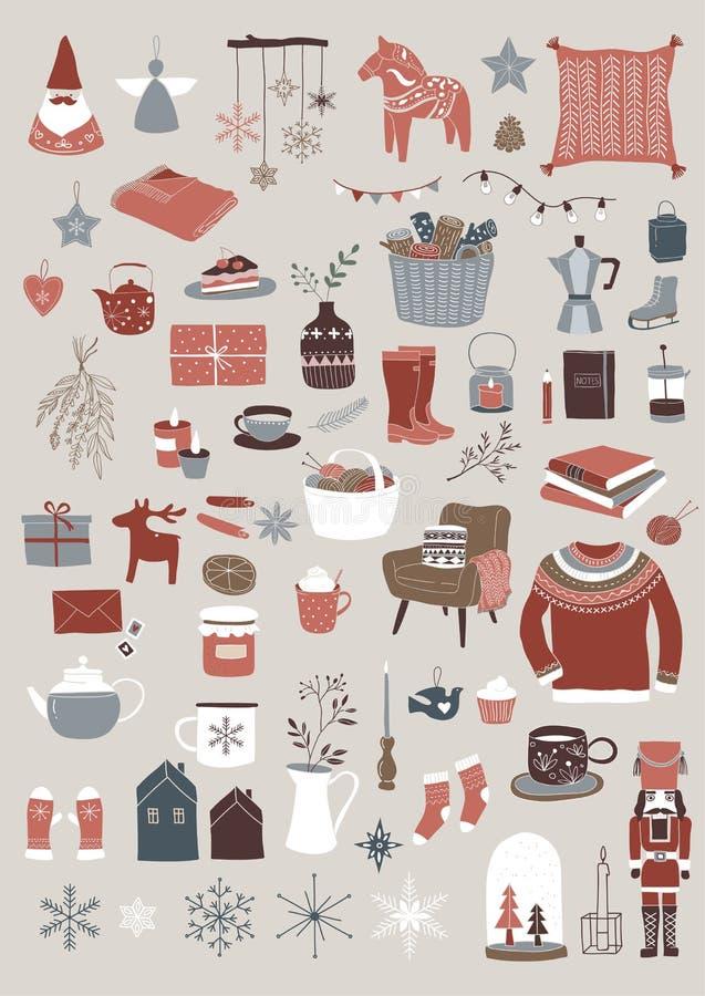 Nordiska skandinaviska vinterbeståndsdelar och Hygge begreppsdesign, glad julkort, baner, bakgrund royaltyfri illustrationer