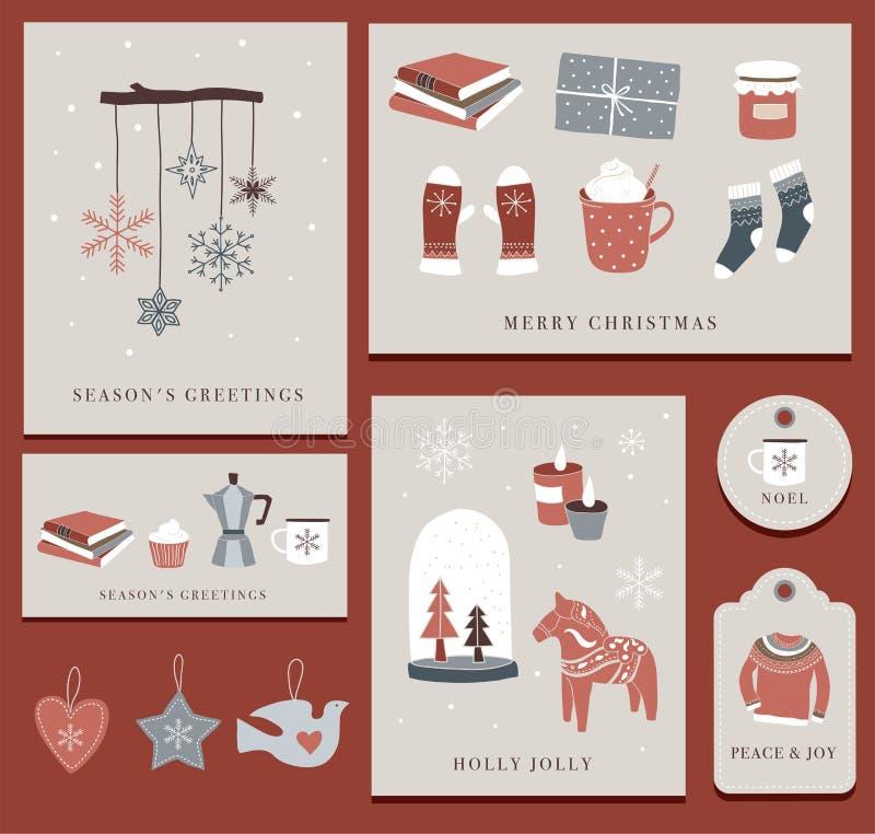 Nordiska skandinaviska vinterbeståndsdelar och Hygge begreppsdesign, glad julkort, baner, bakgrund stock illustrationer