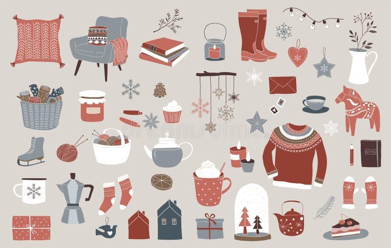 Nordiska skandinaviska vinterbeståndsdelar och Hygge begreppsdesign, glad julkort, baner, bakgrund vektor illustrationer