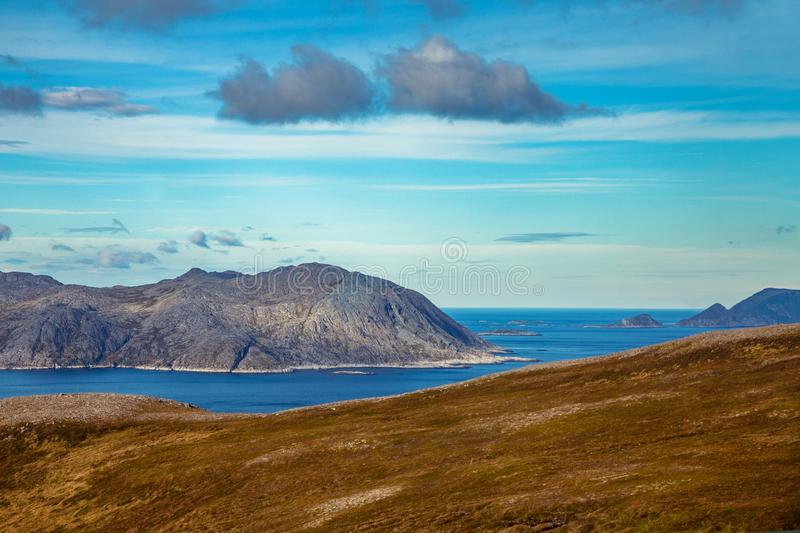Nordkapp. Mageroya island. The northernmost point of Europe. View of the fjord. Beautiful nature of Norway. Arctic bay. Mageroya island. Nordkapp royalty free stock photos