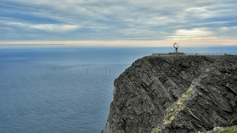 NORDKAPP, NORWAY - A view on the North Cape cliff and Globe Monument stock image