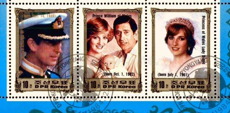 Nordkorea 1984: Brittisk dynasti på mycket sällsynt nordkoreansk portostämpel, circa 1984 arkivbilder