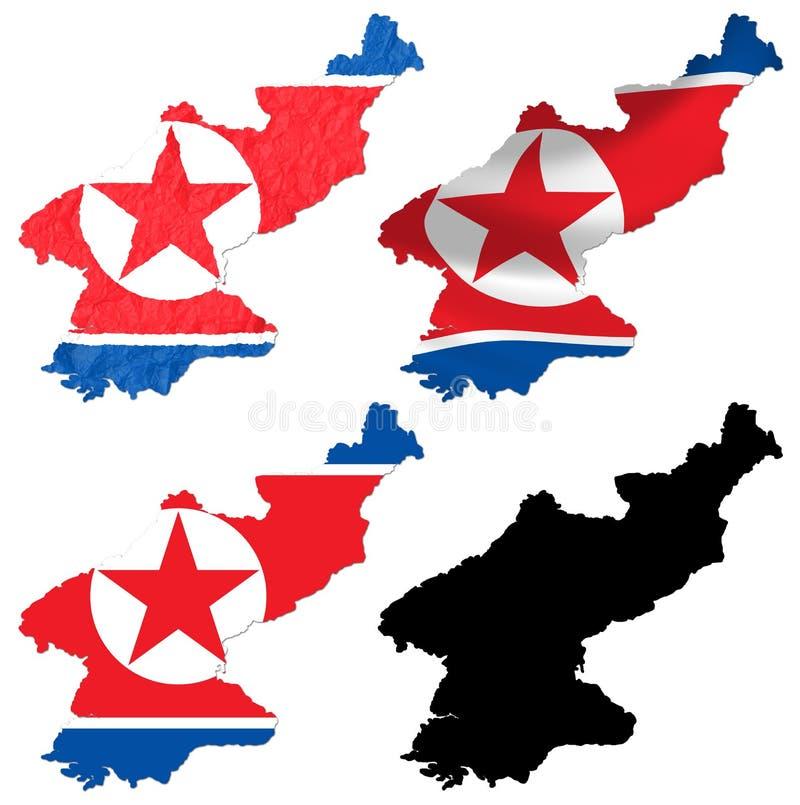 Nordkorea-Flagge über Karte stock abbildung