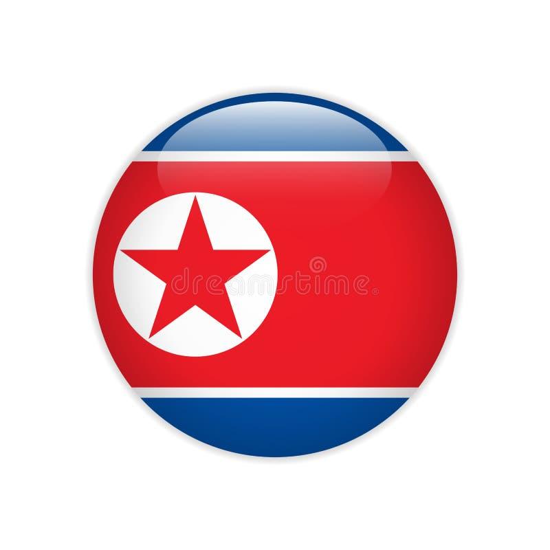 Nordkorea-Flagge auf Knopf vektor abbildung