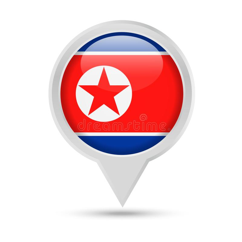 Nordkorea-Flagge rundes Pin Vector Icon vektor abbildung