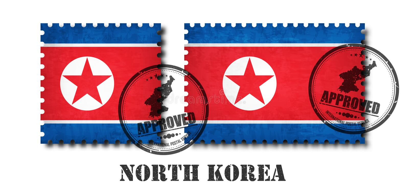 Nordkorea-Flaggenmuster-Briefmarke mit alter Kratzerbeschaffenheit des Schmutzes und fügen eine Dichtung auf lokalisiertem Hinter lizenzfreie abbildung