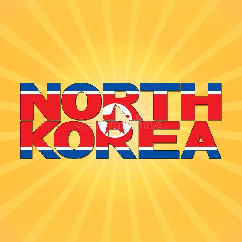 Nordkorea-Flaggentext mit Sonnendurchbruchillustration lizenzfreie abbildung