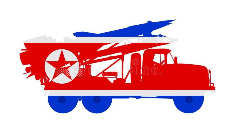 Nordkorea-Flug-Rocket-Fördermaschine mit Atombombe Kriegsdrohung Leistungsfähige Armeewaffe für Kampf vektor abbildung
