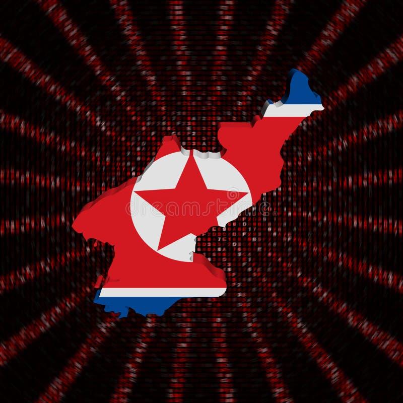 Nordkorea-Kartenflagge auf rotem Hexadezimalcode sprengte Illustration lizenzfreie abbildung