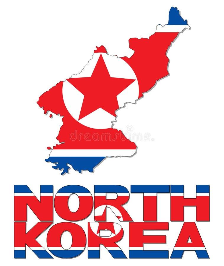 Nordkorea-Kartenflagge und Textillustration lizenzfreie abbildung