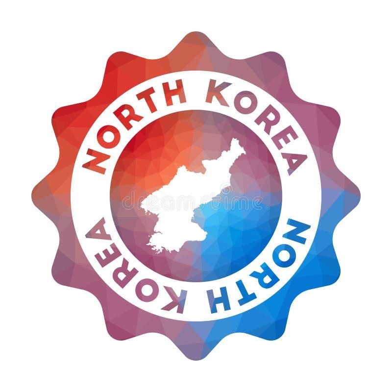 Nordkorea låg poly logo stock illustrationer
