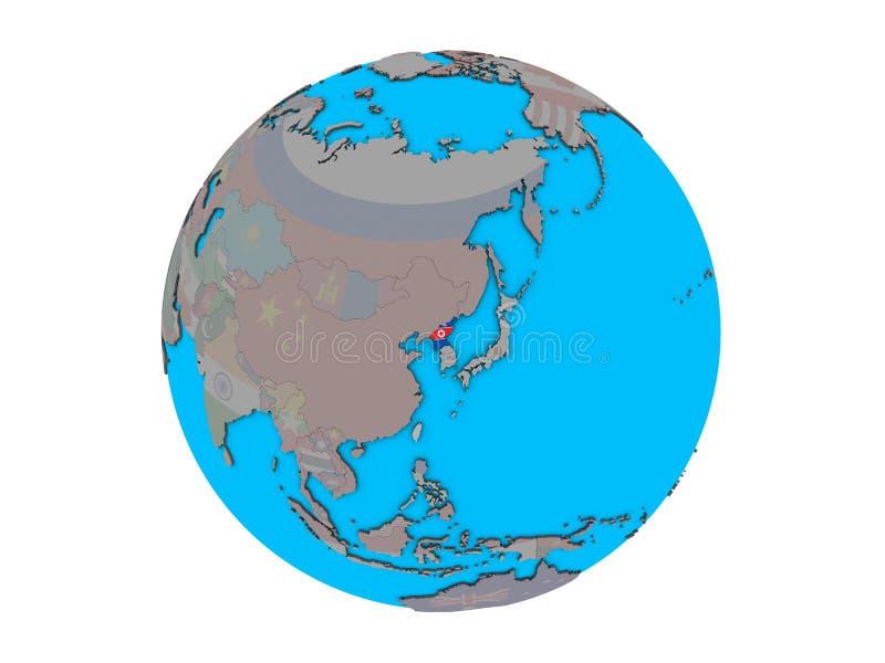 Nordkorea mit Flagge auf der Kugel lokalisiert stock abbildung