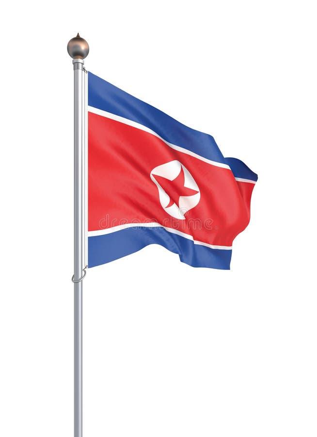 Nordkorea stilfullt vinka och illustration f?r closeupflagga 3d G?ra perfekt f?r bakgrund eller texturera avsikter Isolerat p? vi royaltyfri illustrationer