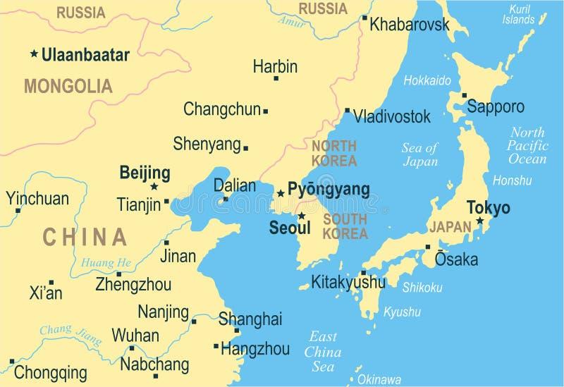 Nordkorea Sydkorea Japan Kina Ryssland Mongoliet översikt - vektorillustration vektor illustrationer
