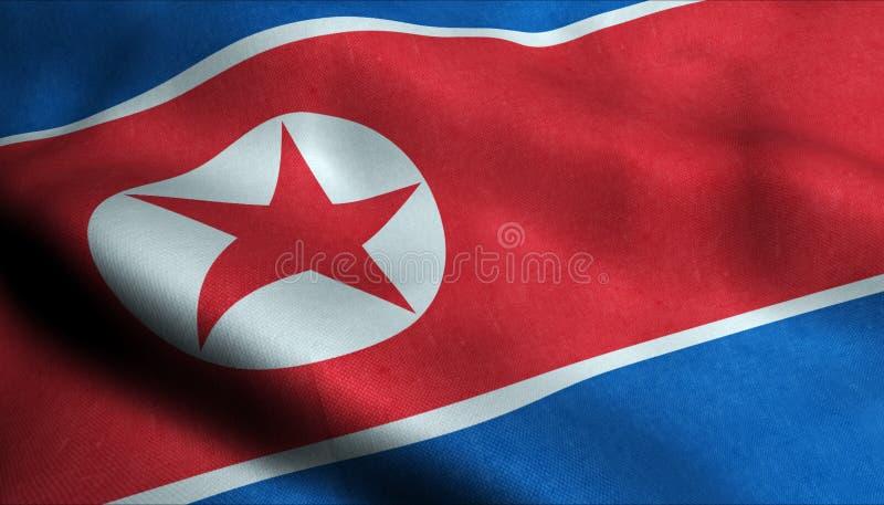 Nordkorea vinkande flagga i 3D royaltyfri illustrationer