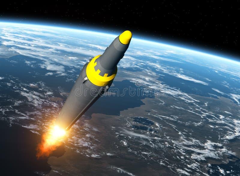 Nordkoreanische ballistische Rakete auf Hintergrund von Erde lizenzfreie abbildung