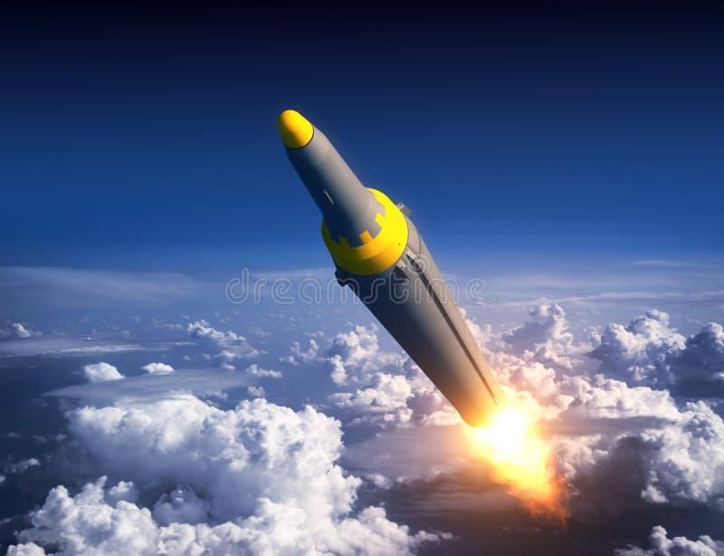 Nordkoreanischer ballistischer Rocket In The Blue Sky vektor abbildung
