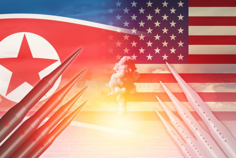 Nordkoreansk för missilprovet för lunch ICBM attack med USA Amerika för kärn- bombarderar stock illustrationer