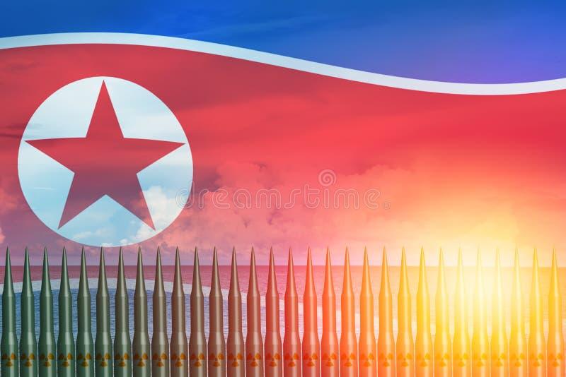 Nordkoreanskt för missilprov för lunch ICBM begrepp för attack vektor illustrationer