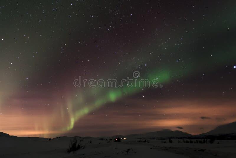 Nordlichter in Abisko Schweden lizenzfreie stockfotos
