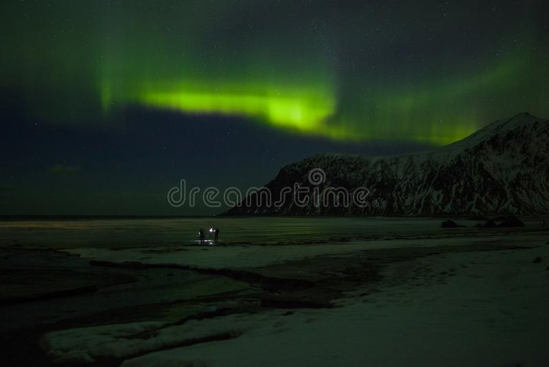 Nordlichter Aurora Borealis Norwegen, Lofoten lizenzfreie stockfotografie