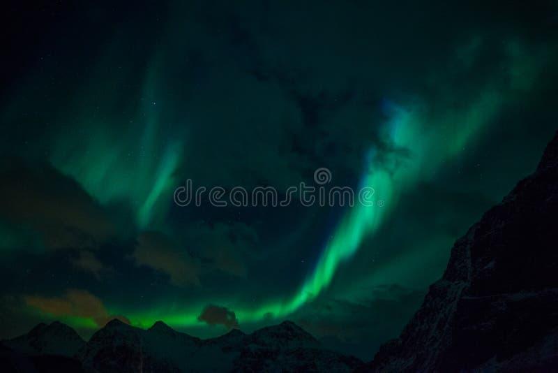 Nordlichter Aurora Borealis Norwegen, Lofoten stockfoto