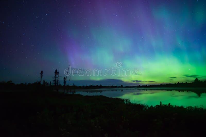 Nordlichter im Hintergrund über einem Teich lizenzfreie stockfotos
