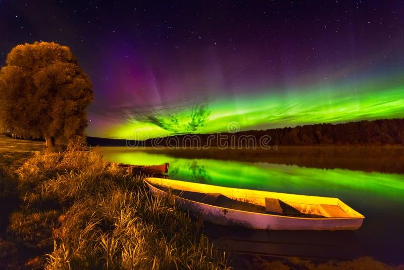 Nordlichter in Litauen stockfotografie