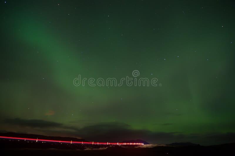 Nordlichter - Schönheit der Natur Island-Nordlichter in Reykjavik Polarlichter oder Nordstab Dieses schön lizenzfreie stockfotos