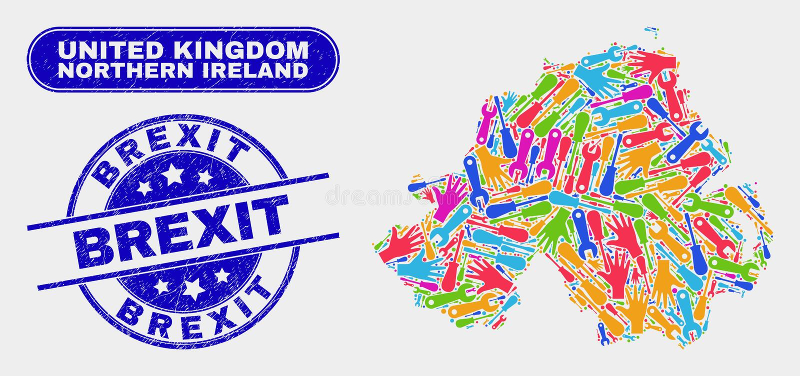 Nordlig produktivitet - Irland översikt och skrapade Brexit skyddsremsor vektor illustrationer