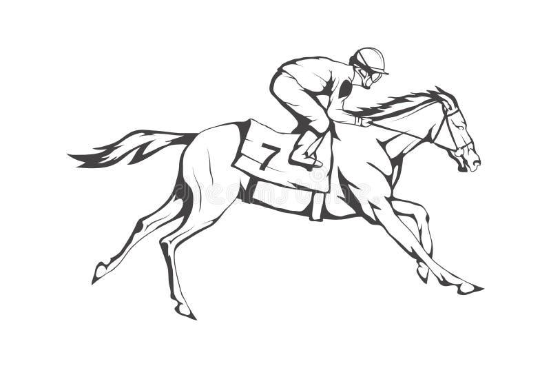 nordlig pyatigorsk tävlings- russia för caucasus hippodromehäst Jockey på den tävlings- hästen som kör till mållinjen vektor illustrationer