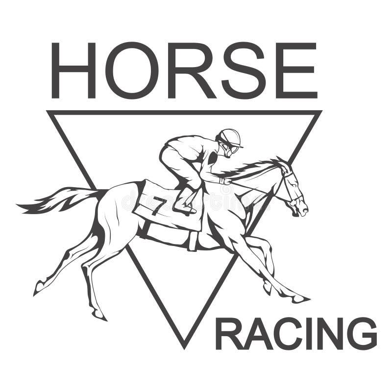 nordlig pyatigorsk tävlings- russia för caucasus hippodromehäst Jockey på den tävlings- hästen som kör till mållinjen stock illustrationer