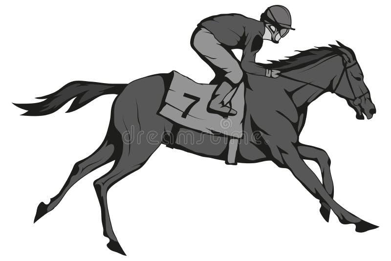 nordlig pyatigorsk tävlings- russia för caucasus hippodromehäst Jockey på den tävlings- hästen som kör till mållinjen Loppkurs royaltyfri illustrationer