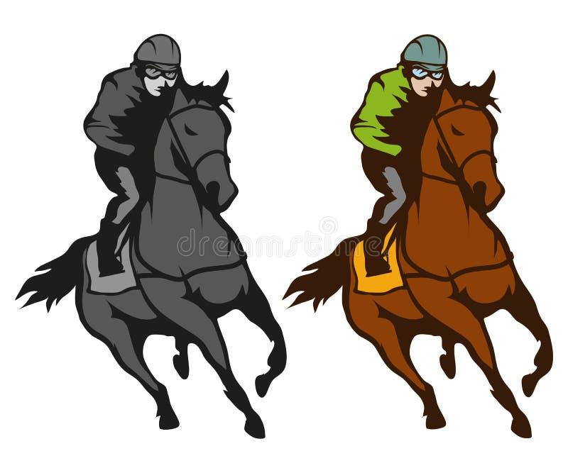 nordlig pyatigorsk tävlings- russia för caucasus hippodromehäst Jockey på den tävlings- hästen som kör till mållinjen Loppkurs vektor illustrationer
