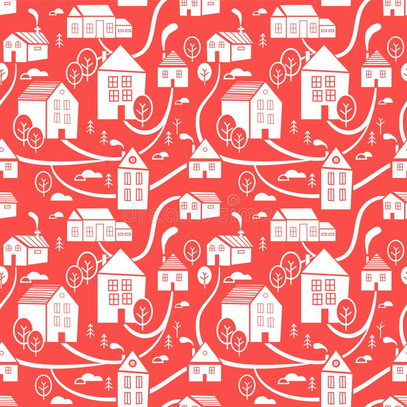 Nordlig stad Sömlös modell för vinter, tema för nytt år och jul idérikt Hand dragen julbakgrund vektor illustrationer