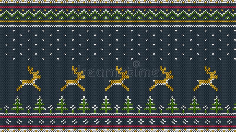 Nordlig stucken färghorisontalprydnad för mer sweeter med hjortar vektor illustrationer
