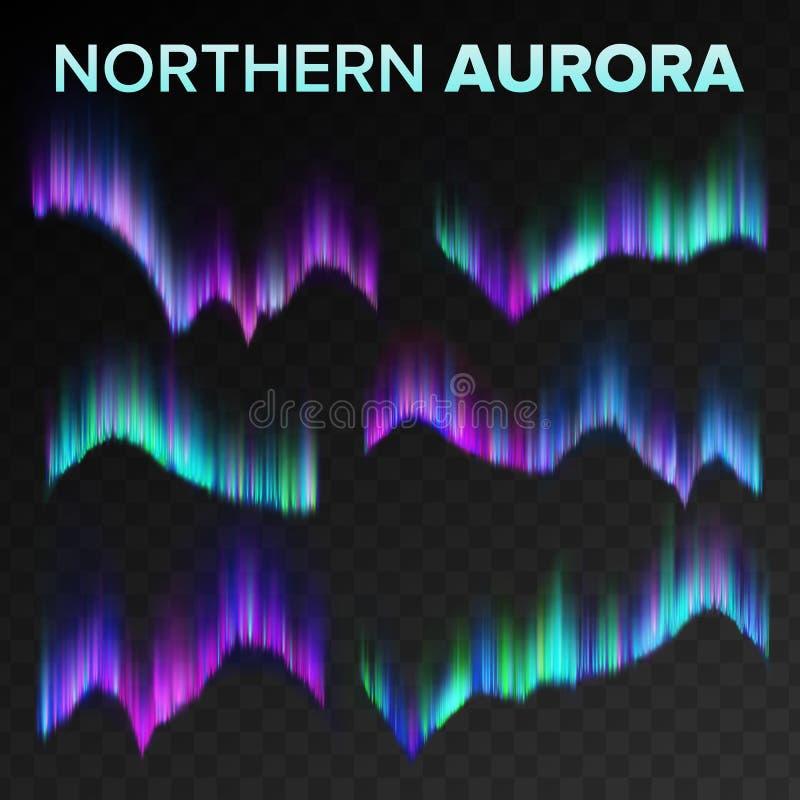 Nordliga Aurora Set Vector Skinande magiskt fenomen för polar himmelnatt Svart genomskinlig bakgrund Abstrakt morgonrodnad stock illustrationer