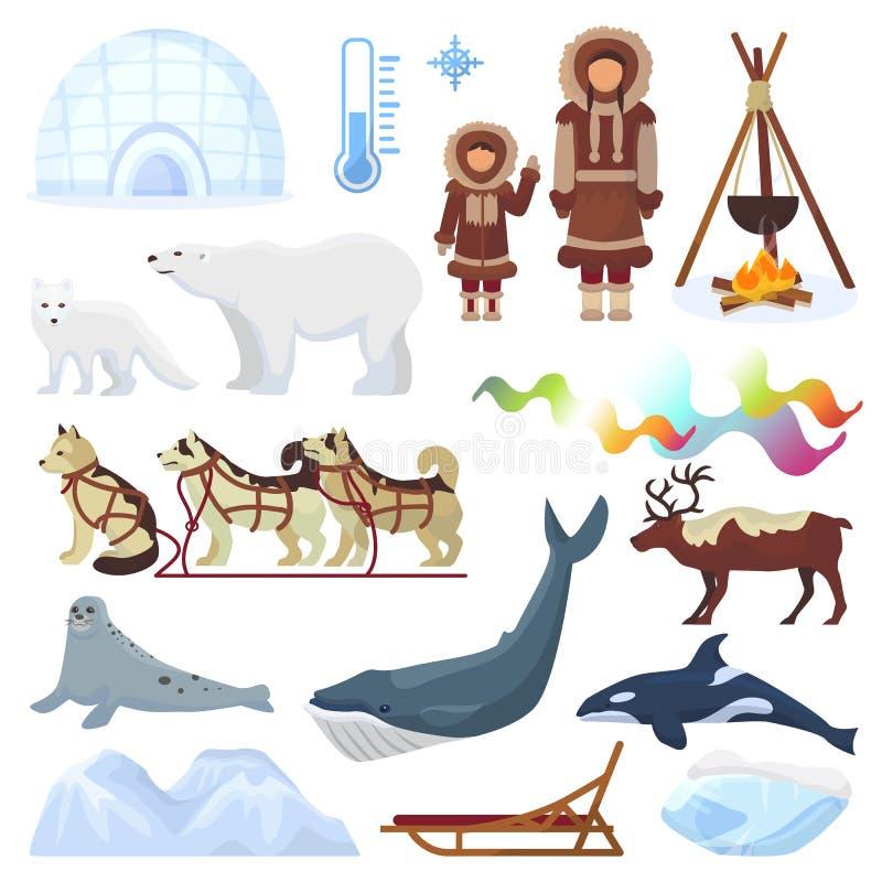 Nordliga borealis Norge för arktisk vektor och sledding pulka för skrovlig hund till yurtaen i snöig uppsättning för vinterillust royaltyfri illustrationer